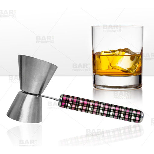 Jigger with Printed Handle Design - Plaid - .75oz x 1.25oz