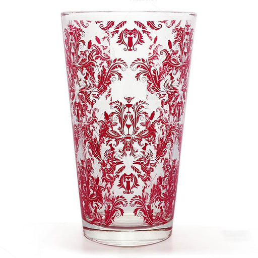 BarConic® Glassware - Mixing Glass - Pink Cocktail Themed Damask - 16 ounce
