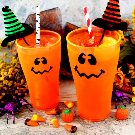 Wacky Jack O'Lantern Polycarbonate Cup - Neon Orange - 2 Sizes Available