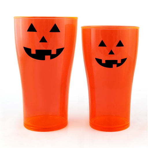 Classic Jack O'Lantern Polycarbonate Cup - Neon Orange - 2 Sizes Available