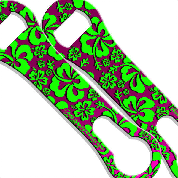 V-Rod® Bottle Opener / Pour Spout Remover - Pink and Green Hawaiian