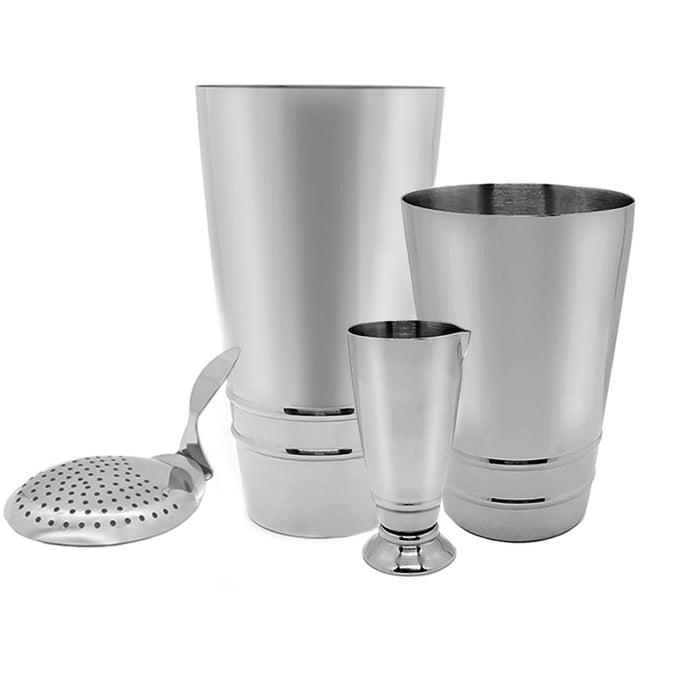 BarConic® Stainless Steel Shaker Set with Ring Design - 4 piece