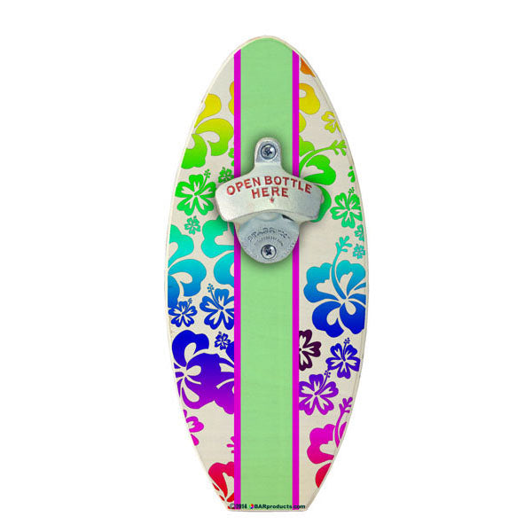 Rainbow Hawaiian Flowers Wooden Surfboard Wall Bottle Opener