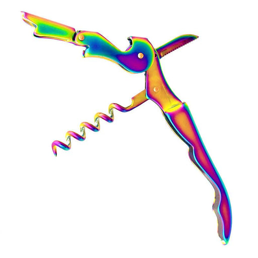 Double Hinged Iridescent Rainbow Corkscrew
