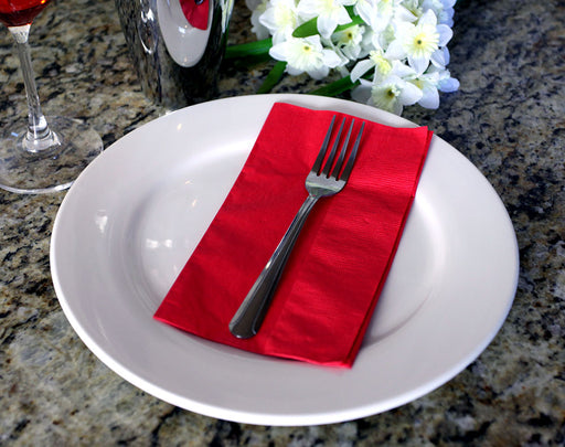 "BarConic® 15"" x 17"" 2-PLY Colored Paper Dinner Napkins – RED"