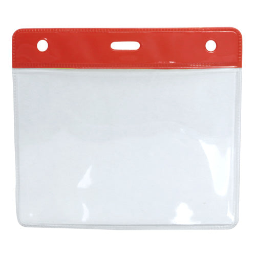 Red - Universal Clear Plastic Badge Holder