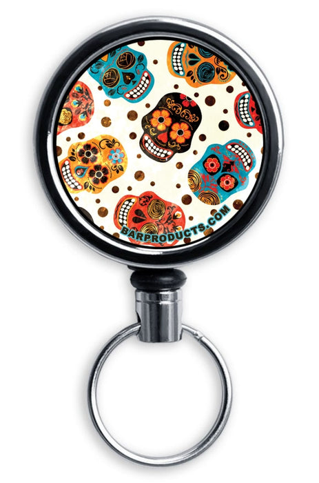 Mirrored Chrome Retractable Reel - Mexican Skulls