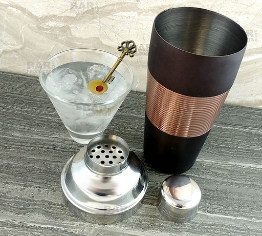 3 piece Cocktail Shaker - Ribbed Espresso / Copper / Stainless Steel - 28 ounce