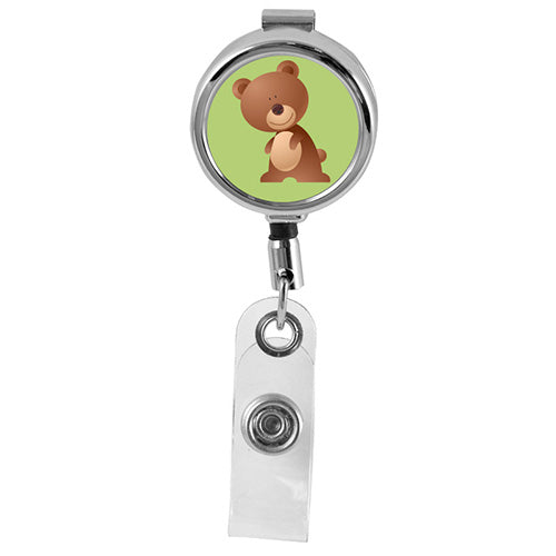 BEAR - Cute Animals Series Mini Chrome ID Badge Reel