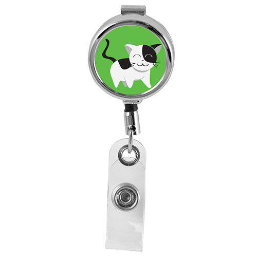 CAT - Cute Animals Series Mini Chrome ID Badge Reel