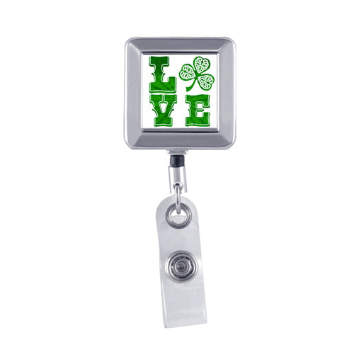 Chrome - LOVE Irish, Square Metal Badge Reel
