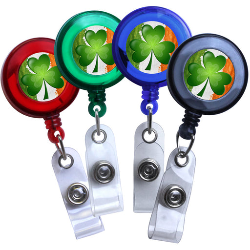 Blue - Irish Flag and Shamrock Translucent Plastic Badge Reel