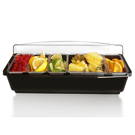 Roll Top Condiment Holder (Fruit Trays) with (4) 1-Quart and (1) 2-Quart Inserts