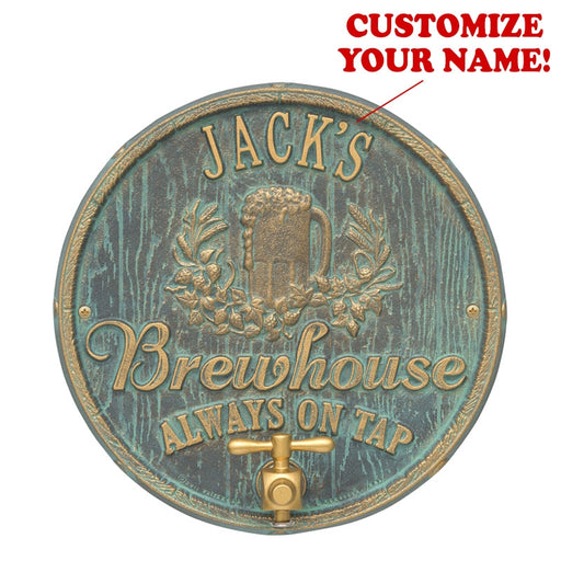 CUSTOMIZABLE Cast Aluminum Plaque (and Bottle Opener) - Oak Barrel Beer Pub Design