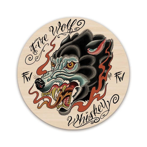 Fire Wolf Whiskey Round Wooden Table Top - Two Sizes Available