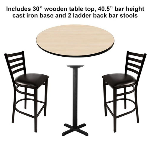 "Table Top Set with Base and 2 Bar Stools - 30"" Round Wooden Table, 40.5"" Bar Height Cast Iron Base - CUSTOMIZABLE"
