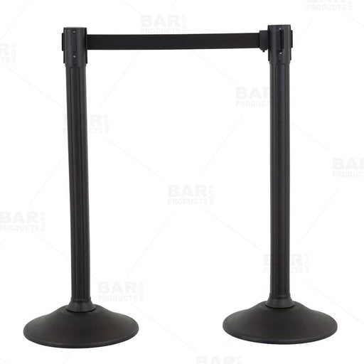 Retractable Belt Stanchion - Textured Black - Set of 2