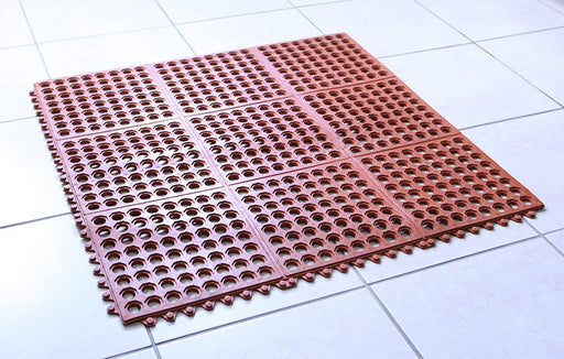 Interlocking Rubber Floor Mat – Red 3' X 3' – Grease Resistant