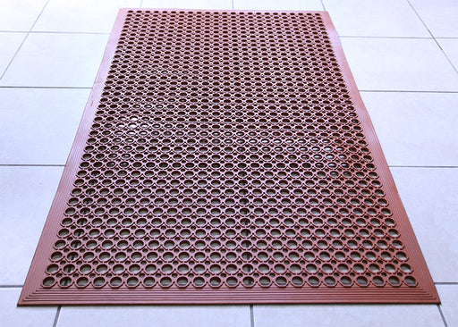 Rubber Floor Mat – Red 3' X 5' – Grease Resistant