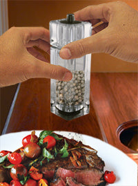 Salt and Pepper Mill - 6 inch Clear Acrylic