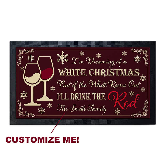 "Custom Printed Bar Service Mat - White Christmas -  17.25"" x 10"""
