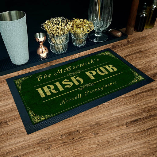 "Custom Printed Bar Service Mat - Irish Pub - 17.25"" x 10"""