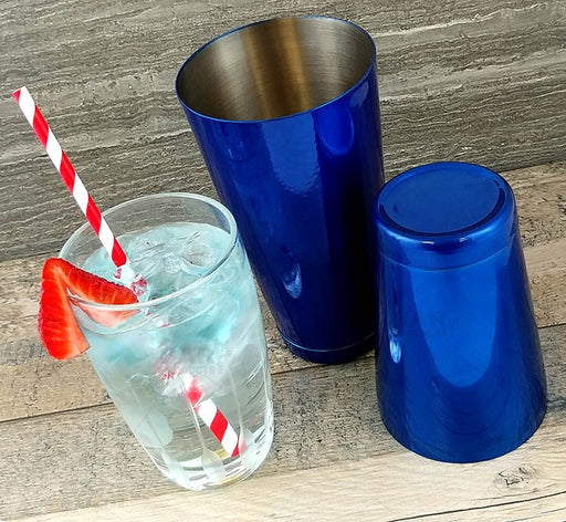 BarConic® Cocktail Shaker Set - 28oz / 18oz Weighted Tins - Candy Blue