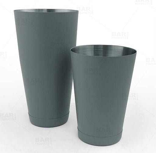 BarConic® Cocktail Shaker Set - 28oz / 18oz Weighted Tins - Textured Shadow Gray