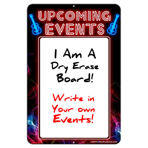 "Upcoming Events - Dry Erase 12"" x 18"" Metal Bar Sign - Neon Themed"