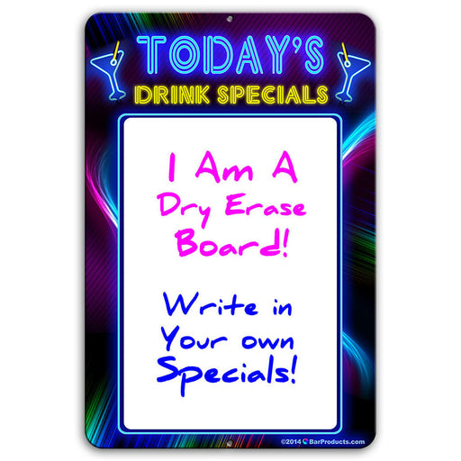 "Today's Drink Specials - Dry Erase 12"" x 18"" Metal Bar Sign - Neon Themed"