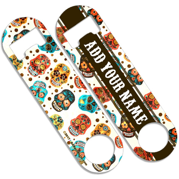 CUSTOMIZABLE Skinny Mini Bottle Opener - Cute Mexican Skulls