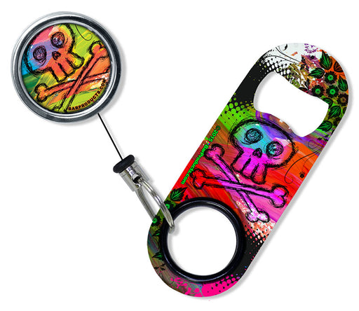 Kolorcoat™ Mini Opener with Retractable Reel SET  - Colorful Skull and Crossbones