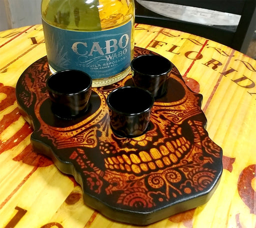 Shot Glass and Bottle Caddy - Rustic Wood Skull