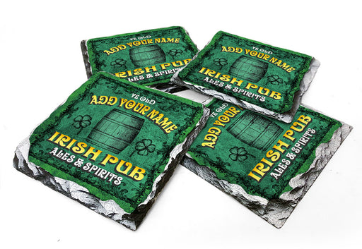CUSTOMIZABLE Rock Slate Coaster - Irish Pub