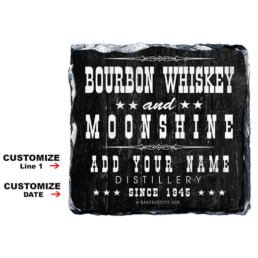 CUSTOMIZABLE Rock Slate Coaster - Bourbon Whiskey and Moonshine