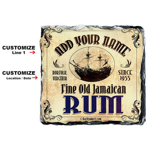 CUSTOMIZABLE Rock Slate Coaster - Rum Themed