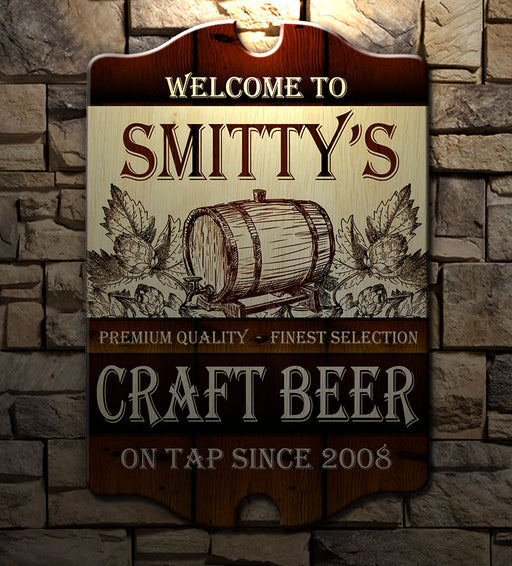 Customizable Tavern Shaped Wood Bar Sign
