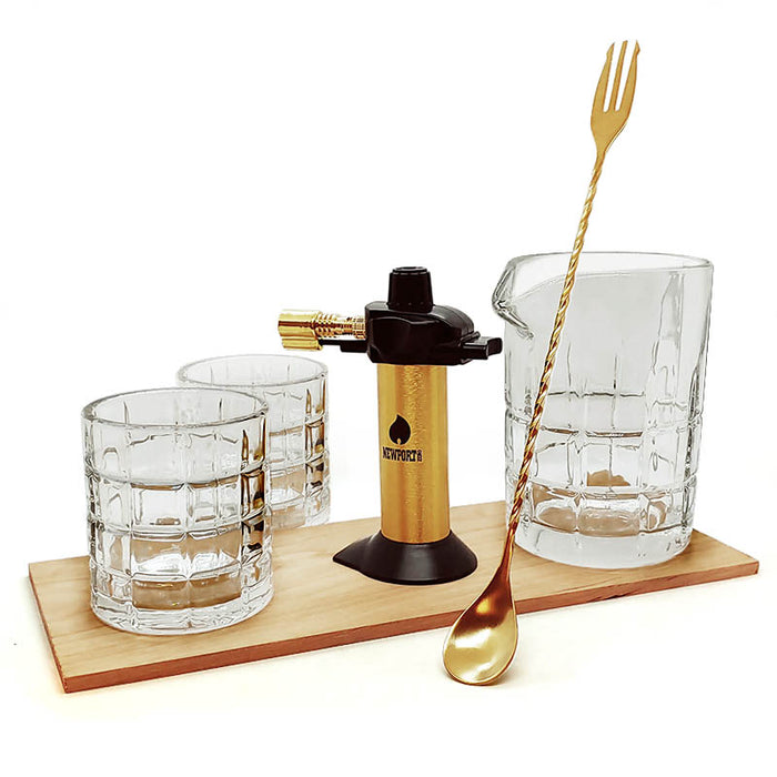 Gold Smoking Kit with Block Glassware