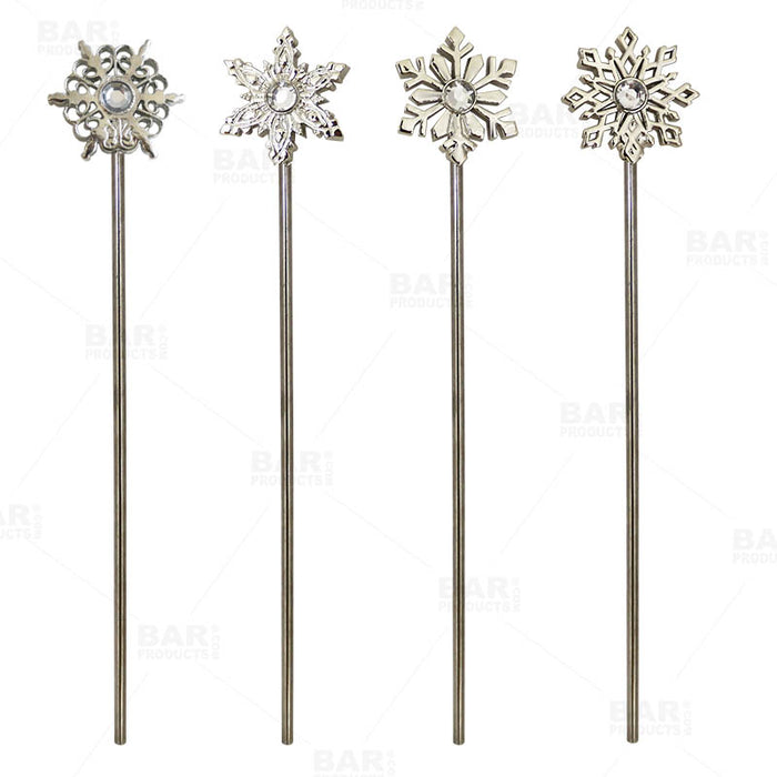 Snowflake Stirrers - Silver Plated - Pack of 4