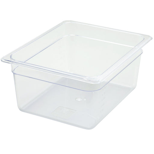 "1/2 Size Clear Polycarbonate (Half Size) Food Pan, 6"" Deep"