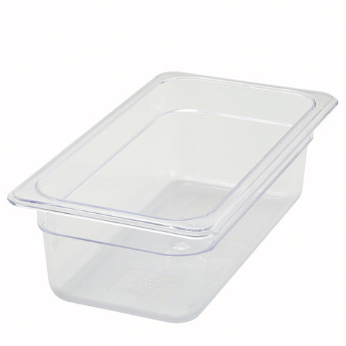 "1/3 Size Clear Polycarbonate Food Pan - 4"" Deep"