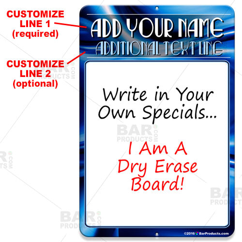 Dry Erase Specials Sign - ADD YOUR NAME - Blue Abstract Template
