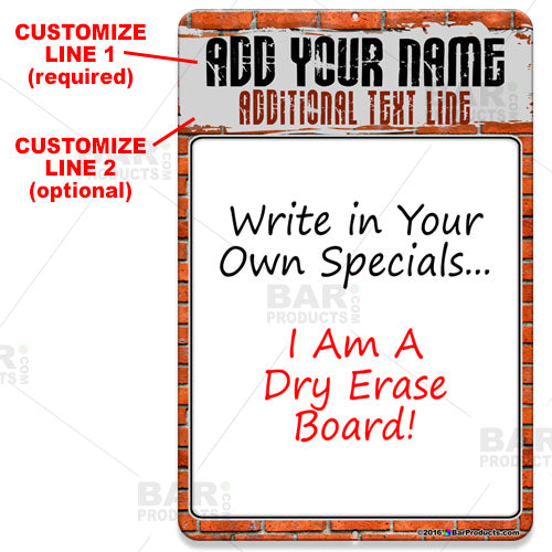Dry Erase Specials Sign - ADD YOUR NAME - Brick Wall Template
