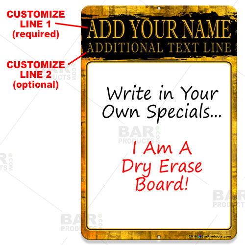 Dry Erase Specials Sign - ADD YOUR NAME - Gold Grunge Template