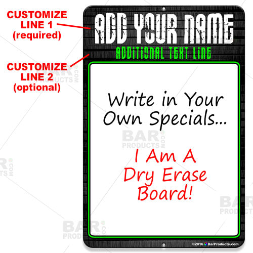 Dry Erase Specials Sign - ADD YOUR NAME - Stone Template