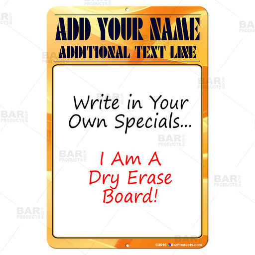 "12"" x 18"" Specials Dry Erase Bar Sign"