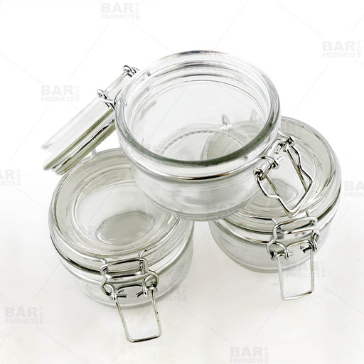 Round Condiment/Spice Jars - Locking Seal Lid - Set of 3