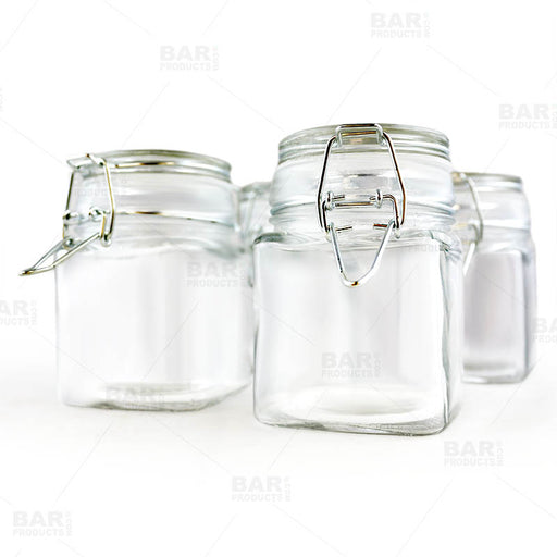 Square Condiment/Spice Jars - Locking Seal Lid - Set of 4