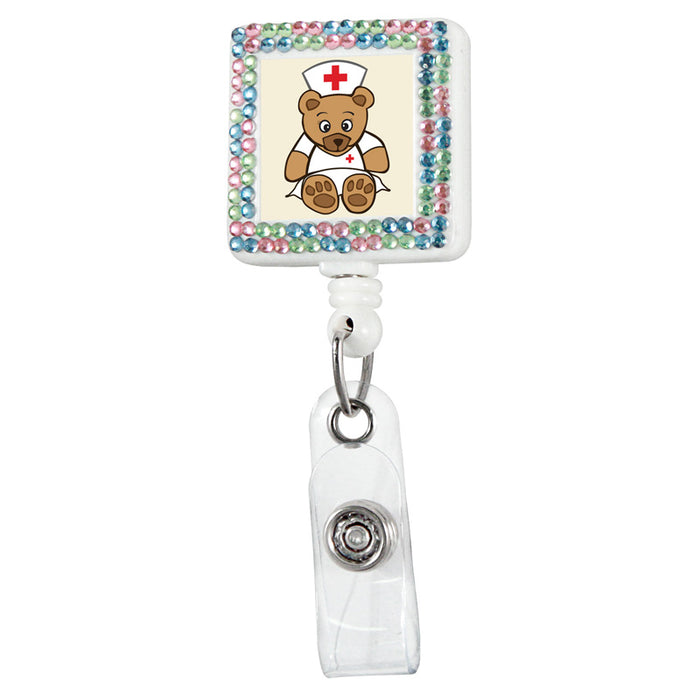 Nurse Bear Square Plastic Badge Reel with Crystals