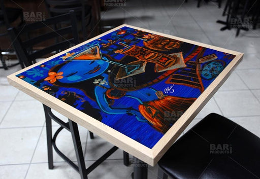Blue Tiki Bar Square Wooden Table Top - Two Sizes Available